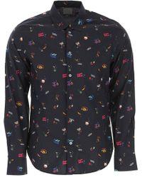 Paul Smith - Slim-Fit Navy 'Soho' Print Shirt With 'Artist Stripe' Cuff Lining - Lyst