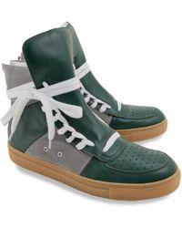 Kris Van Assche - Green Leather Overlong Laces High_top Sneakers - Lyst
