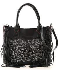 Pinko - Black Kamet Bag With Black Fringes - Lyst