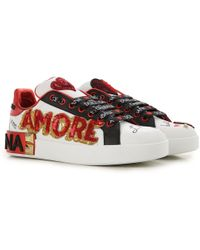 24473d0a1d77 Dolce   Gabbana - Embellished Printed Leather Sneakers - Lyst