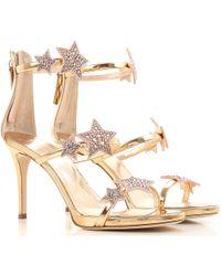 0160aa6ce44209 Giuseppe Zanotti Baroque Leaf Sandals in Metallic - Lyst