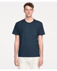 Rag & Bone - James Striped Indigo T-shirt - Lyst