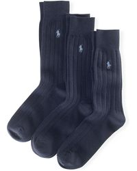 Polo Ralph Lauren - Combed Cotton Rib Sock 3-pack - Lyst