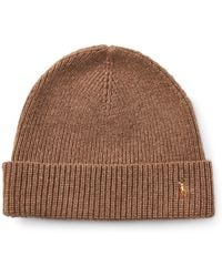 3377acb6c77 Lyst - Polo Ralph Lauren Merino Wool Pom-pom Hat in Brown for Men