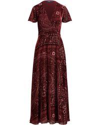 Polo Ralph Lauren | Burn-out Velvet Wrap Maxidress | Lyst
