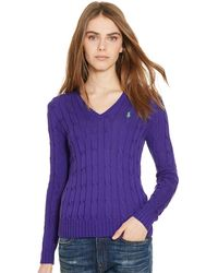 Polo Ralph Lauren | Cable Pima V-neck Sweater | Lyst