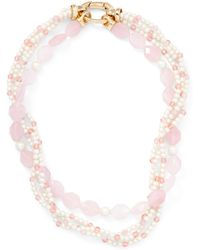 Ralph Lauren | Rose Quartz Torsade Necklace | Lyst