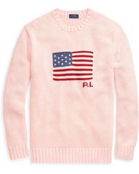 Polo Ralph Lauren - Pink Pony Flag Cotton Sweater - Lyst