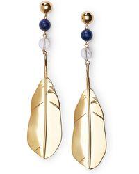 Ralph Lauren - Beaded Feather Drop Earrings - Lyst