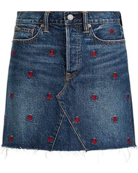 Polo Ralph Lauren - Embroidered Denim Skirt - Lyst