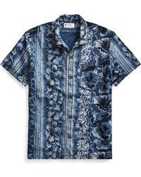9a4f5cd4 Lyst - Rrl Beach-print Cotton Jersey Shirt in Blue for Men