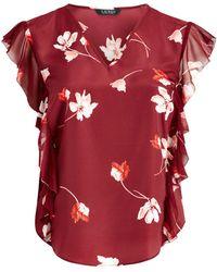 Ralph Lauren - Floral-print Ruffled Crepe Top - Lyst
