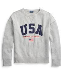 24e347a589b2 Lyst - Polo Ralph Lauren Cropped Fleece Sweatshirt in White