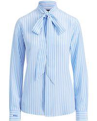 afbd25d928079c Polo Ralph Lauren Pinstripe Silk Button-down in Blue - Lyst