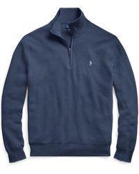Polo Ralph Lauren - Cotton Mesh Half-zip Sweater - Lyst