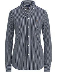 b6c01a0c7e7b23 Polo Ralph Lauren Tie-neck Striped Silk Blouse in Black - Lyst