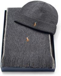 ... sale polo ralph lauren merino hat scarf gift set lyst 054aa b520d 38d329741ff0