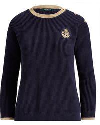 Lauren by Ralph Lauren - Bullion-patch Cotton Sweater - Lyst