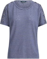 Lauren by Ralph Lauren - Lace-up Linen-cotton T-shirt - Lyst