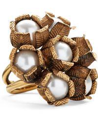 Ralph Lauren - Flower Crystal-pearl Ring - Lyst