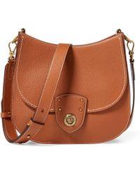 a71d81043d Ralph Lauren Pebbled Leather Crossbody Bag in Brown - Lyst