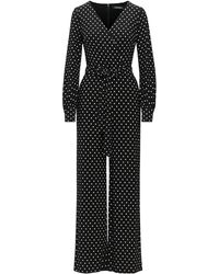 Ralph Lauren Lauren Leslie Polka Dot Jumpsuit In Black Lyst