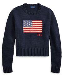Polo Ralph Lauren - Flag Cotton Crewneck Jumper - Lyst