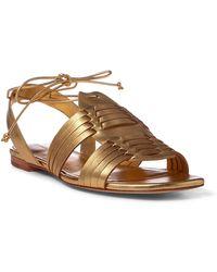 Polo Ralph Lauren - Jaida Metallic Leather Sandal - Lyst