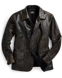 RRL - Leather Car Coat - Lyst