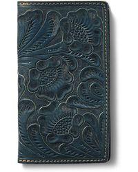 RRL - Tooled Indigo Leather Wallet - Lyst