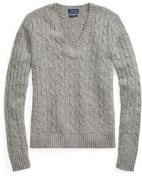 af35d19bb129d Lyst - Ralph Lauren Cable-knit Cashmere Sweater in Brown