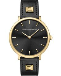 Rebecca Minkoff - Major Gold Tone Pyramid Studded Leather Watch, 35mm - Lyst