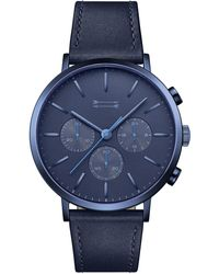 Rebecca Minkoff - Griffith Blue Tone Leather Watch, 43mm - Lyst