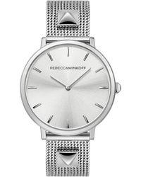 Rebecca Minkoff - Major Silver Tone Stud Mesh Bracelet Watch, 35mm - Lyst