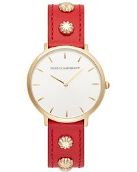 Rebecca Minkoff - Major Gold Tone Red Studded Strap Watch, 35mm - Lyst
