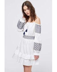 Rebecca Minkoff - Brittany Cold-shoulder Embroidered Cotton-poplin Mini Dress - Lyst