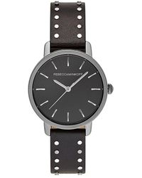 Rebecca Minkoff - Bffl Grey Ion Plated Tone Black Studded Strap Watch, 36mm - Lyst