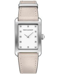 Rebecca Minkoff - Moment Silver Tone Leather Watch, 26.5mmx38.5mm - Lyst