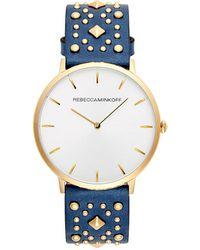 Rebecca Minkoff - Major Gold Tone Blue Studded Strap Watch, 40mm - Lyst