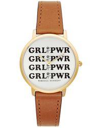 Rebecca Minkoff - Major Gold Tone Almond Strap Watch, 35mm - Lyst