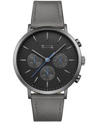 Rebecca Minkoff - Griffith Gunmetal Tone Leather Watch, 43mm - Lyst