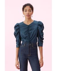 Rebecca Taylor - La Vie Washed Sateen Ruched Top - Lyst