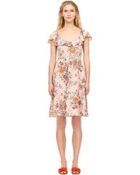 Rebecca Taylor - Marlena Floral Silk Ruffle Dress - Lyst