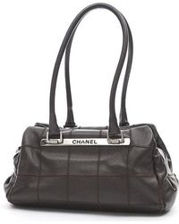 Chanel | Choco Bar Shoulder Bag Mini Boston Caviar Skin Dark Brown | Lyst