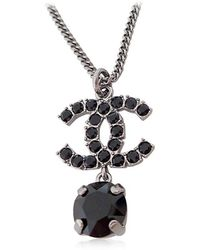 Chanel - 2018 Ss New Cocomark Rhinestone Necklace Black/metalshw A58383[brand New][authentic] - Lyst