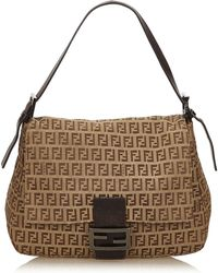 212ee4342960 Lyst - Fendi Zucchino Jacquard Shoulder Bag in Brown