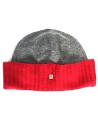 Chanel - Knit Hat Knit Cap Coco Mark 100% Cashmere Grey Red - Lyst fb7141576482