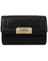 Chanel - Materasse Plate Logo 4 Keycase Black Goat Skin Ghw A84297[brand New][authentic] - Lyst
