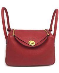 Hermès - Calfskin Leather Lindy 26 Red Shoulder Tote Bag 0594 - Lyst