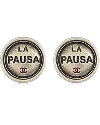 "Chanel - 2019 Cruise Line New ""la Pausa"" Round Bouton Coco Pierces Antique Silver Ab0746[brand New][authentic] - Lyst"